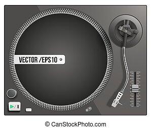 vector, plato giratorio, moderno, negro, ilustración