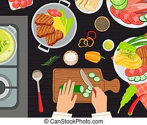 vector, platos, ilustración, delicioso, sano, tabla, chef, cima, chefs, cocina, bandera, manos, vista, cocinero, alimento que prepara