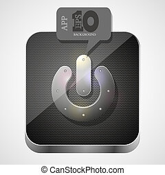 Vector play app icon with gray bubble speech. Eps10