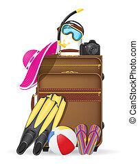 vector, playa, accesorios, ilustración, maleta