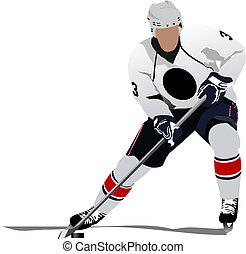 vector, players., hockey, ilustración, hielo