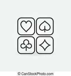 Vector Playing Card Suits outline concept icon or logo