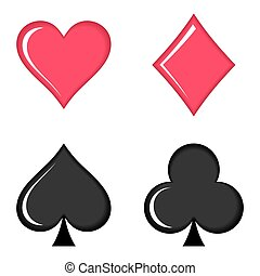Red and black vector playing cards symbols collection