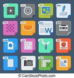 vector, plein, bestand, types, en, formaten, etiketten,...