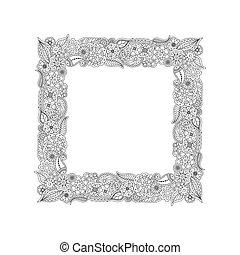 vector, plein, frame, van, hand, getrokken, floral, doodle, elements., kleuren, pagina, boek, voor, adults.