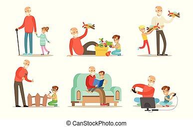 vector, plezier, set, kleinkind, kleinkinderen, uitgeven, spelend, wandelende, hun, grootvaders, boekjes , opa, achtergrond, tijd, illustraties, witte , lezende , hebben