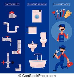 vector plumber concept infographic posters set