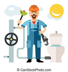 Vector Plumber. Flat style colorful Cartoon illustration.