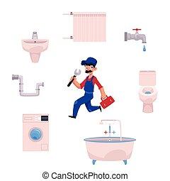 vector plumber man, plumbing tools