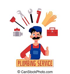 vector plumber man thumbs up and tools