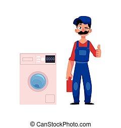 vector plumber man thumbs up