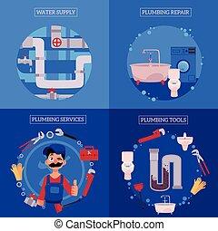 vector plumbing concept posters set