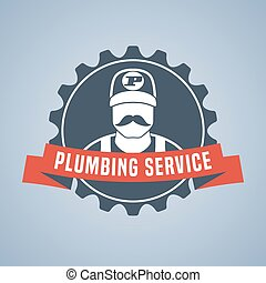 Vector plumbing service logo, sign