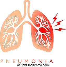 vector, pneumonia, pulmones, icono