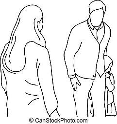 vector, poco, mujer, concept., líneas blancas, aislado, ilustración, intimidar, fondo., malo, abuso, niño negro, proteger, niña, o, hombre