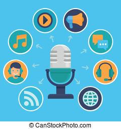 vector, podcast, concepto, en, plano, estilo