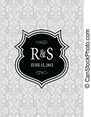 Vector Pointed Frame and Damask Background
