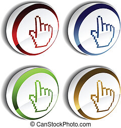 Vector pointer - cursor of hand on the button