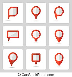 Vector pointer red icons set various forms