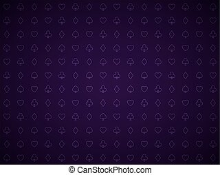 Vector poker purple background, playing card symbols pattern, blackjack