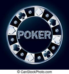 vector, poker stukje, diamant