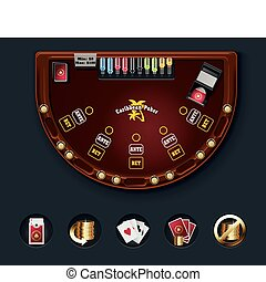 Detailed poker casino table with icons