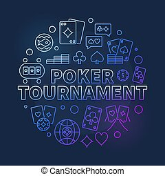 Vector Poker Tournament thin line round colorful illustration
