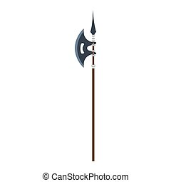 Vector poleaxe weapon medieval illustration icon isolated symbol ancient history. Military battle axe blade knight