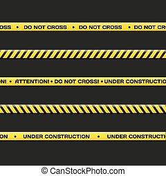 Vector police line. Do not cross, under construction.