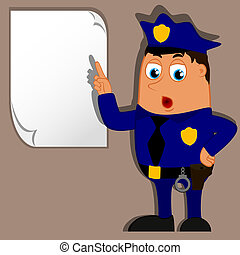 Vector policeman and blank for use in advertising,...