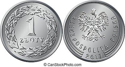 Vector Polish Money one zloty coin