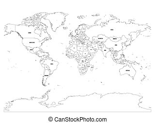 Vector Political Map Of World Black Outline On White Background With Country Name Labels