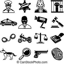 vector, politie, set, black , iconen