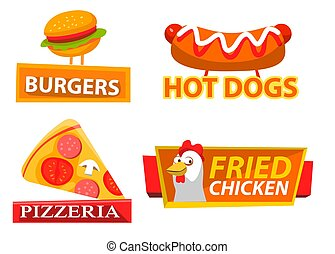 vector, pollo, hamburguesa, etiqueta, logotipo, fastfood