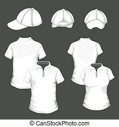 vector, polo, gorra, beisball, camisas
