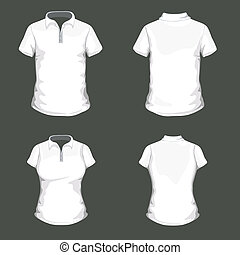 Vector Polo Shirt Design Template - Vector Set with white...