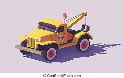 vector, poly, bajo, camión, remolque