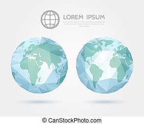 Vector polygonal globe. 3D triangular World map of the Earth