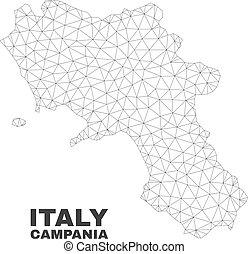 Vector Polygonal Mesh Campania Region Map
