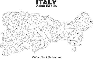 Vector Polygonal Mesh Capri Island Map