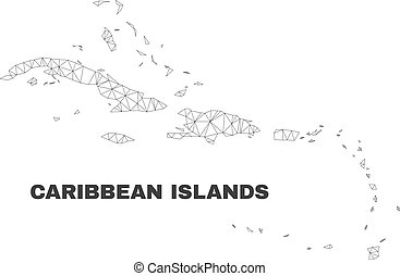 Vector Polygonal Mesh Caribbean Islands Map