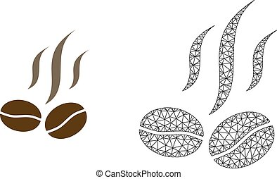 Vector Polygonal Mesh Coffee Beans Smell and Flat Icon