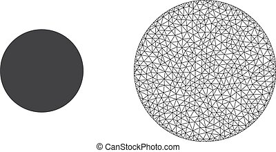 Vector Polygonal Mesh Filled Circle and Flat Icon - ...