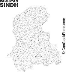 Vector Polygonal Mesh Sindh Province Map