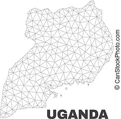 Vector Polygonal Mesh Uganda Map