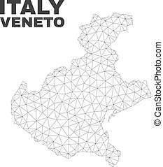 Vector Polygonal Mesh Veneto Region Map - Abstract Veneto...