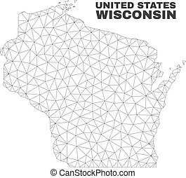 Vector Polygonal Mesh Wisconsin State Map