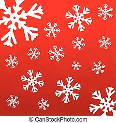 Vector polygonal red seamless background with snowflakes