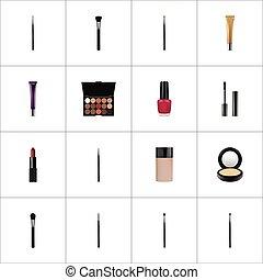 vector, pomade, elements., realistisch, wenkbrauw, palet, werktuig, veelkleurig, symbolen, ook, mascara, set, greasepaint, makeup, hoogtepunt, objects., omvat, anderen