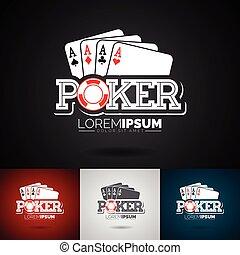 vector, pook, logo, ontwerp, mal, met, geluksspelletjes, elements.casino, illustratie, met, aas, set, speelkaarten, op, donkere achtergrond